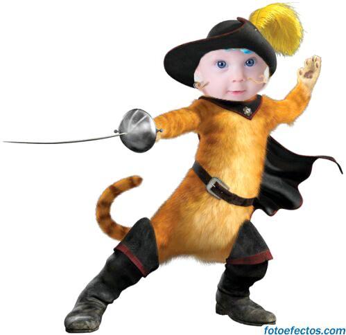 fotomontaje infantil con el gato con botas