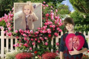 Fotomontaje en un jardín con Justin Bieber