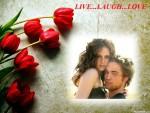 Fotomontaje de amor con tulipanes rojos