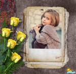 Marco para fotos con rosas amarillas