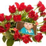 Fotomontaje de amor con ramo de rosas