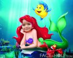 Fotomontaje infantil con la sirenita Ariel