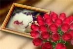 Marco para fotos con ramo de rosas