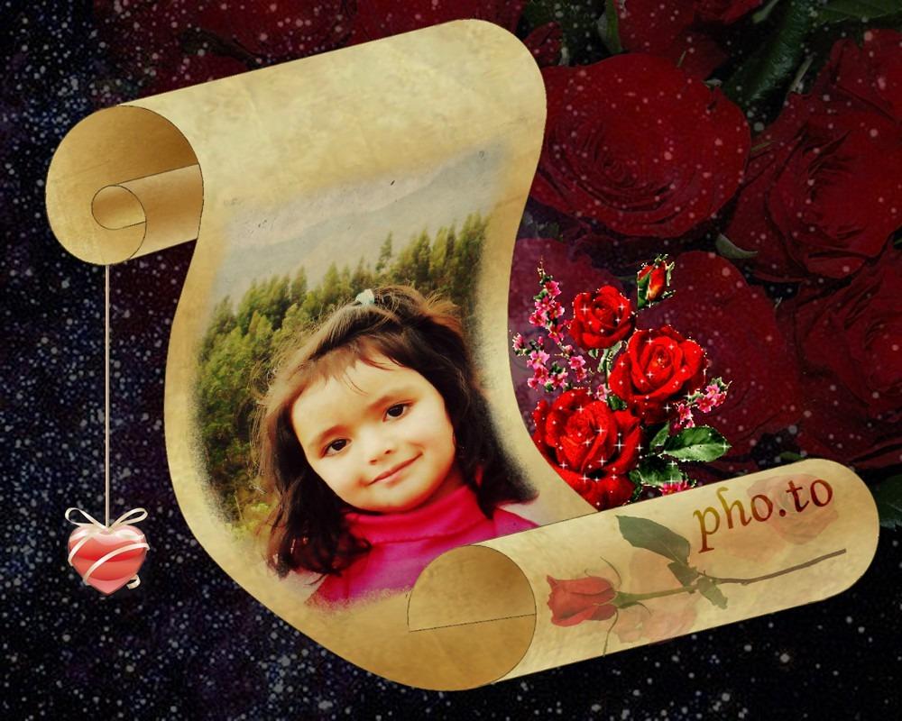 Fotomontaje En Un Pergamino Con Rosas Y Corazones Editar Fotos Online