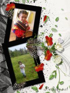 Marco para dos fotos con flores y plumas