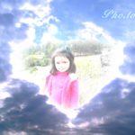 Fotomontaje en un corazón en el cielo