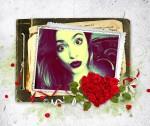 Marco para fotos con adorno de rosas en forma de corazón