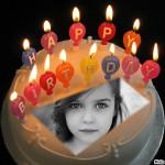Fotomontaje con velas de feliz cumpleaños