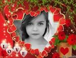 Postal de amor con muchos corazones