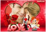 Fotomontaje de amor con cupido