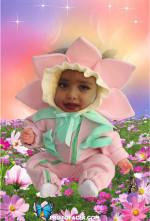 Disfraza a tu niña de la flor mas hermosa con este montaje gratis