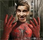 Fotomontaje de rostro con el Hombre Araña