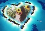 Fotomontaje online en una isla en forma de corazón